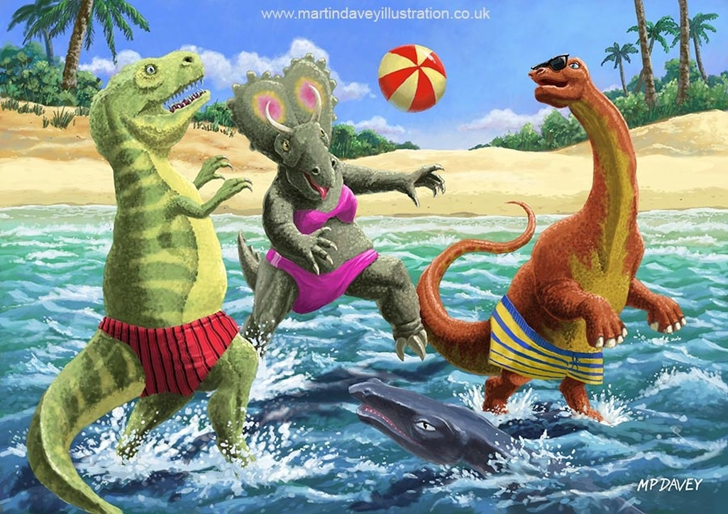 dinosaur fun on beach vacation digital painting