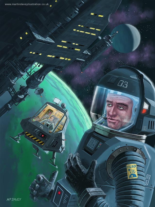 Spaceman With Space Station Orbiting Green Planet illustration