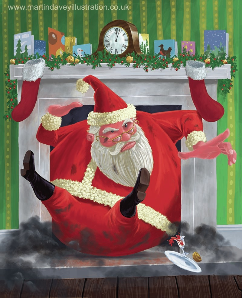 cartoon father Xmas coming down fireplace digital painting