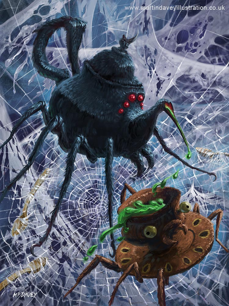 Tea Set Monster Spiders Fantasy art